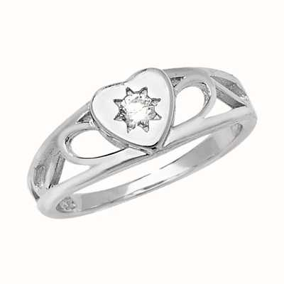 Treasure House Silver Baby Cubic Zirconia Heart Signet Ring Size E G7399CZ/E