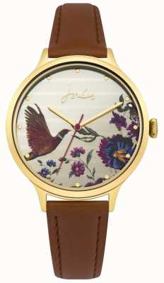 Joules Womens Pippa Brown Leather Strap Floral Dial JSL002TG