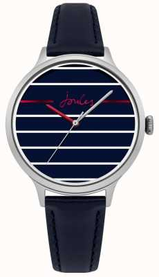 Joules Womens Joules Marina Blue Leather Strap Blue Striped Face JSL013US