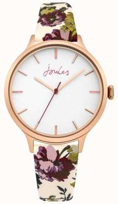 Joules Womens Joules Casey White Floral Leather Strap White Dial JSL003VRG