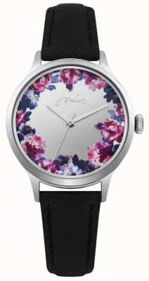 Joules Womens Black Leather Strap Silver Floral Dial JSL005B