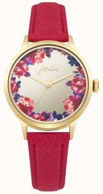 Joules Womens Joules Red Leather Strap Silver Multi-colour Dial JSL005PG