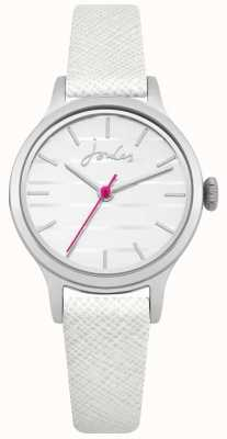 Joules Womens White Saffiano Leather Strap White Dial JSL012W