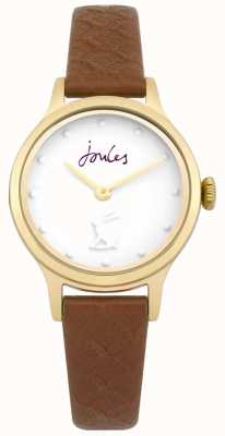 Joules Womens Jackie Tan Leather Strap White Dial JSL007TG
