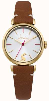 Joules Womens Tan Leather Strap Silver Sunray Dial JSL004TG