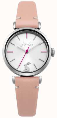 Joules Womens Pink Leather Strap Silver Sunray Dial JSL004P
