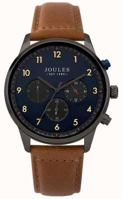 Joules Mens Brown Leather Strap Blue Chronograph Dial JSG007TB