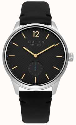 Joules Mens Black Leather Strap Matte Grey Dial JSG005B