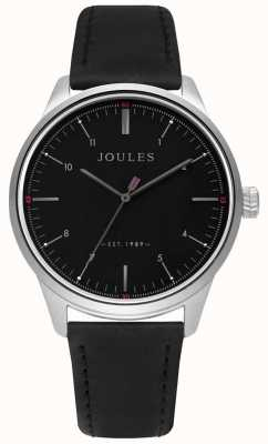 Joules Mens Black Leather Strap Matte Black Dial JSG002B