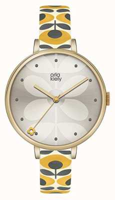 Orla Kiely Womens White Floral Leather Strap Grey Dial OK2136