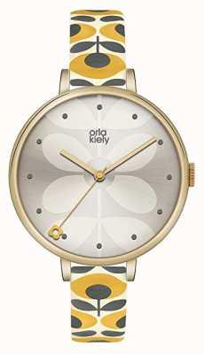 Orla Kiely Womens White Floral Leather Strap Grey Dial OK2136
