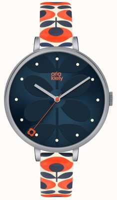 Orla Kiely Womens White Leather Orange Floral Strap Navy Dial OK2137