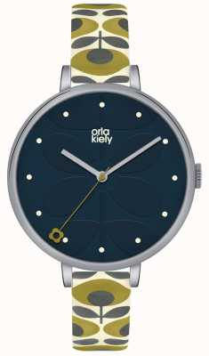 Orla Kiely Womens White Leather Grey Floral Strap Navy Dial OK2135