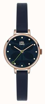 Orla Kiely Womens Dark Blue Leather Strap Navy Dial OK2036
