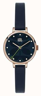 Orla Kiely Womens Dark Blue Leather Strap Navy Dial OK2036