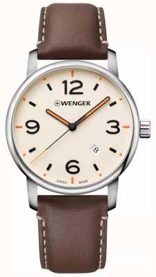 Wenger Mens Urban Metropolitan Brown Leather Strap Cream Dial 01.1741.133
