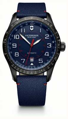 Victorinox Swiss Army Mens Airboss Mech Slide Rule Blue Fabric Strap Blue Dial 241820