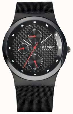 Bering Mens Ceramic Black Mesh Bracelet Black Dial 32139-309