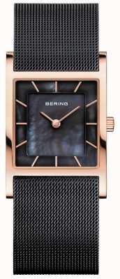 Bering Womens Black Mesh Bracelet Black Mother Of Pearl Dial 10426-166-S