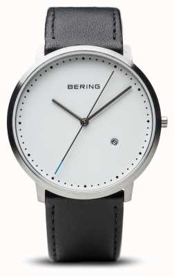 Bering Mens White Dial Black Leather Strap 11139-404