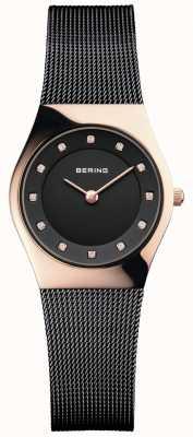 Bering Womens Black Dial Black Mesh Bracelet 11927-166