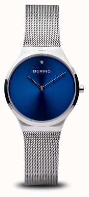 Bering Classic | Polished Silver Blue Face 12131-007