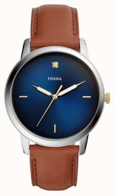 Fossil Mens Minimalist Watch Brown Leather Strap Blue Dial FS5499