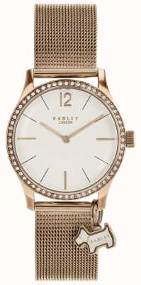 Radley Millbank Dog Charm Rose Gold Mesh Bracelet Watch RY4286