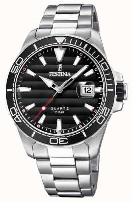 Festina Mens Stainless Steel Metal Bracelet Black Face F20360/2