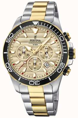 Festina Men's Two-tone Stainless Steel Chronograph Gold Dial F20363/1