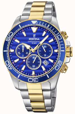 Festina Mens Two-tone Stainless Steel Chronograph Blue Dial F20363/2