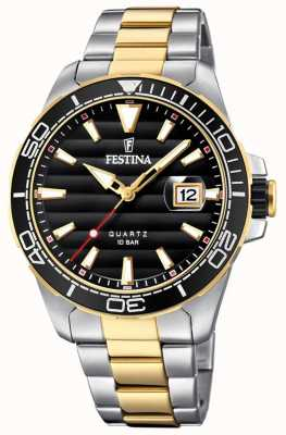 Festina Mens Two-tone Stainless Steel Black Dial F20362/2