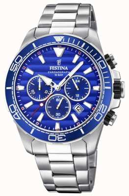 Festina Mens Stainless Steel Chronograph Blue Dial F20361/2