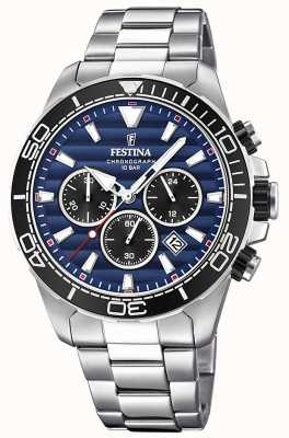 Festina Mens Stainless Steel Chronograph Dark Blue Dial F20361/3