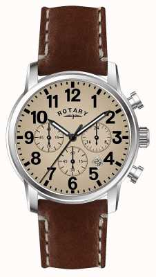 29908ae47c60 Rotary Mens Chronograph Quartz Leather Strap white dial GS00430 31