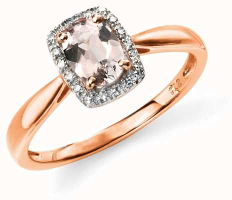 Elements Gold 9k Rose Gold Diamond Pink Morganite Ring GR517P54