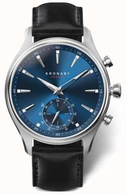 Kronaby 41mm SEKEL Blue Dial Black Leather Strap A1000-3758 S3758/1