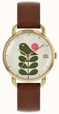 Orla Kiely Bird Print | Rose Gold Case | Brown Strap OK2240
