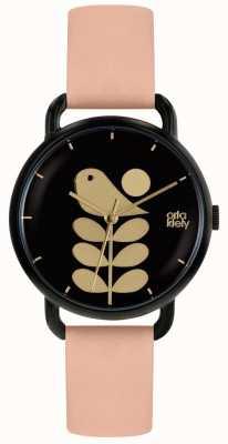 Orla Kiely Bird Print | Black Case | Pale Pink Strap OK2236