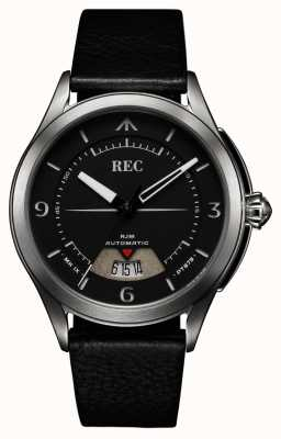REC Spitfire Automatic Black Leather Strap (free strap/notebook) RJM-01