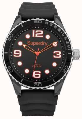 Superdry Black Silicone Strap | Black Case SYG163BA