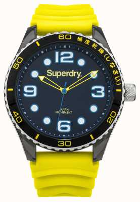 Superdry Yellow Silicone Strap   Black Dial   Blue Accents SYG163YA