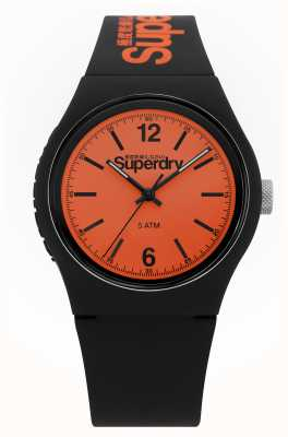 Superdry Urban | Black Silicone Strap | Orange Dial SYG017BO