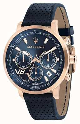 Maserati Mens GT 44mm |Rose Gold Case | Blue Dial | Blue Leather R8871134003