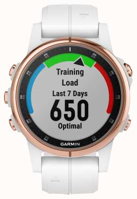 Garmin Fenix 5S Plus Sapphire Rose-gold Tone White Rubber Strap 010-01987-07