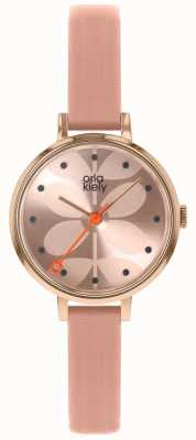 Orla Kiely | Ladies Ivy Watch | Pink Dial | Pink Leather Strap | OK2252
