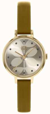 Orla Kiely | Ladies Ivy Watch | Gold Case | Light Olive Strap OK2256