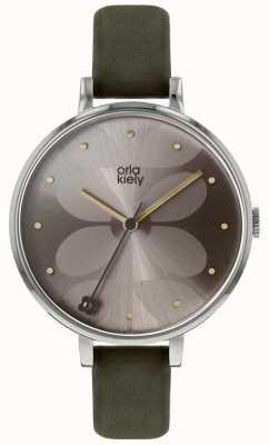 Orla Kiely | Ladies Ivy Watch | Silver Case | Dark Olive Strap | OK2261
