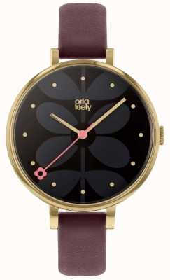 Orla Kiely | Ladies Ivy Watch | Large Dial | Gold Case | Purple Strap | OK2262