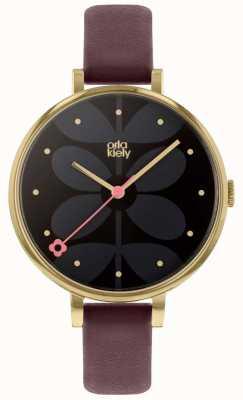 Orla Kiely | Ladies Ivy Watch | Large Dial | Gold Case | Purple Strap | OK2262